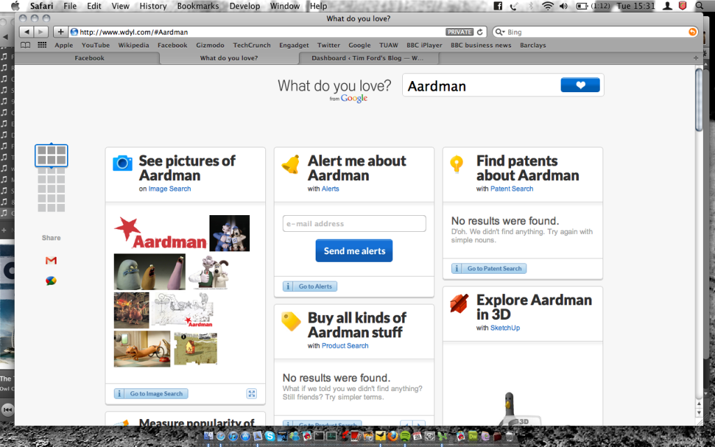 Google's What Do You Love Aardman